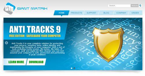 скриншот сайта программы anti tracks